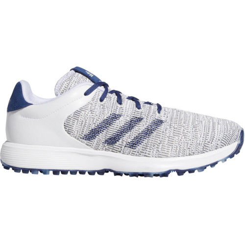 adidas S2G Mens Waterproof Spikeless Golf Shoes (Cloud White/Tech Indigo/Grey)