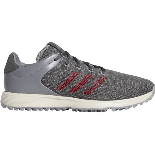 adidas S2G Mens Waterproof Spikeless Golf Shoes (Grey Three/Collegiate Burgundy)