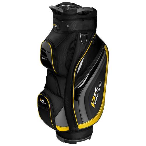 PowaKaddy Premium Edition 14-Way Divider Cart Bag (Black/Gunmetal/Yellow)