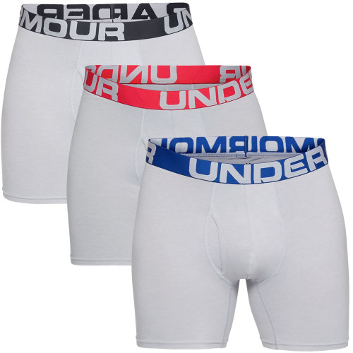 "Under Armour Mens Charged Cotton 6"" Boxerjock 3 Pack Soft Boxer Shorts"