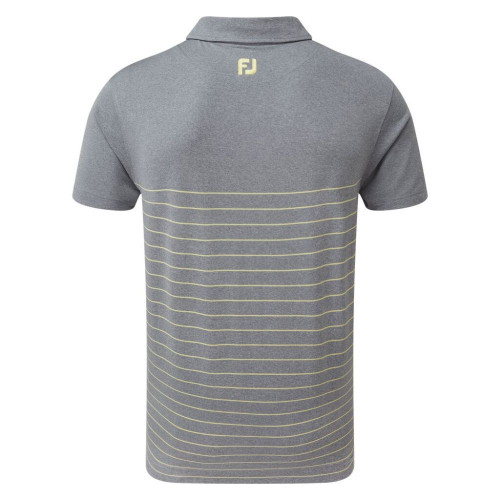 FootJoy Golf Heather Lisle Engineered Pinstripe Mens Polo Shirt  - Slate/Yellow