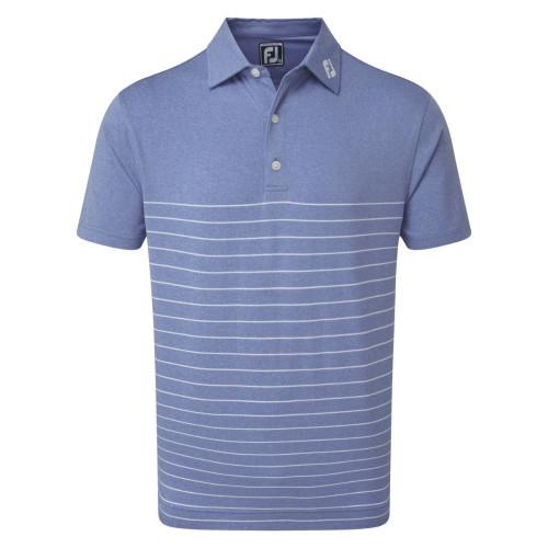 FootJoy Golf Heather Lisle Engineered Pinstripe Mens Polo Shirt (Royal/White)