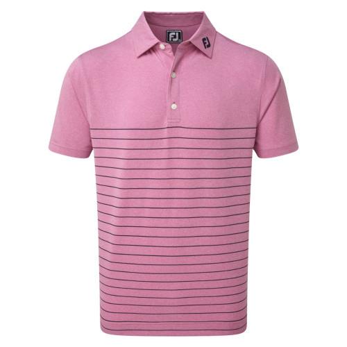 FootJoy Golf Heather Lisle Engineered Pinstripe Mens Polo Shirt (Berry/Navy)