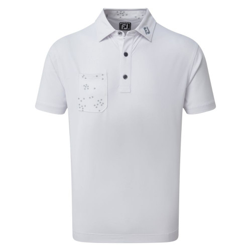 FootJoy Golf Flock of Bird Print Trim Mens Polo Shirt  - White