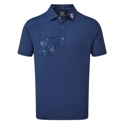 FootJoy Golf Flock of Bird Print Trim Mens Polo Shirt (Deep Blue)