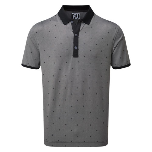 FootJoy Golf Birdseye Argyle Print with Knit Collar Polo Shirt