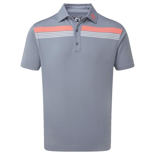 FootJoy Golf Stretch Pique Chestband Mens Polo Shirt (Slate/Coral/White)