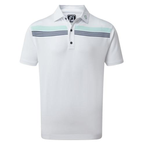 FootJoy Golf Stretch Pique Chestband Mens Polo Shirt (White/Mint/Blue)
