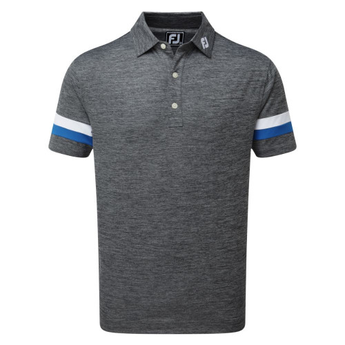 FootJoy Golf Smooth Pique Space Dye Mens Polo Shirt (Black/Royal/White)