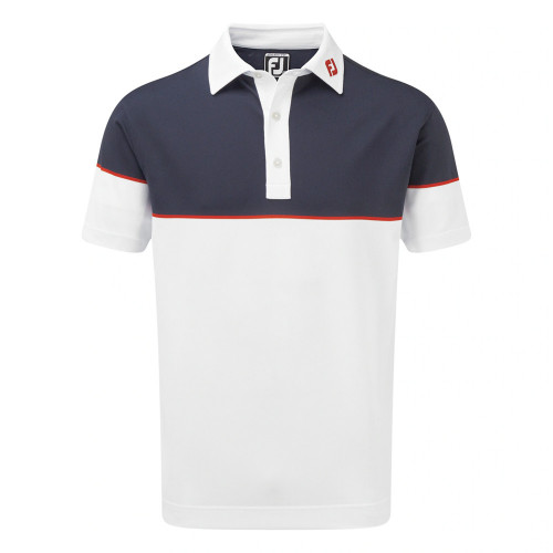 FootJoy Mens Colour Block Stretch Pique Golf Polo Shirt