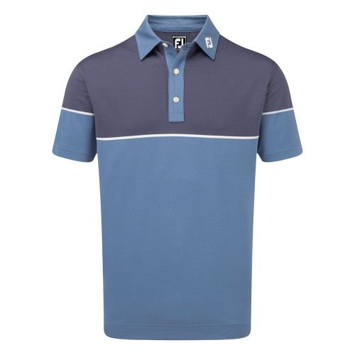 FootJoy Mens Colour Block Stretch Pique Golf Polo Shirt