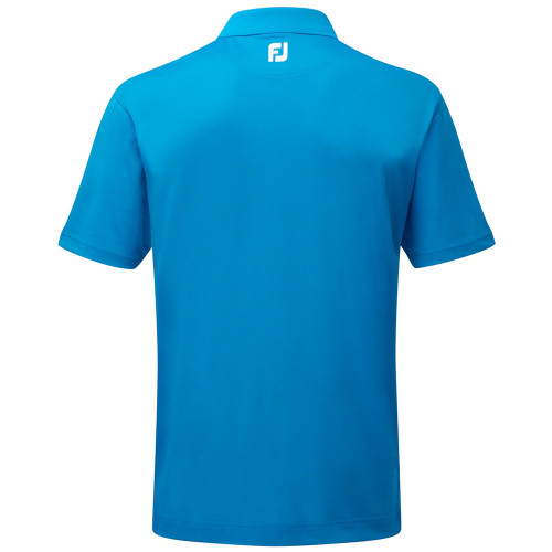 FootJoy Mens Stretch Pique Solid Knit Collar Golf Polo Shirt (Cobalt) reverse