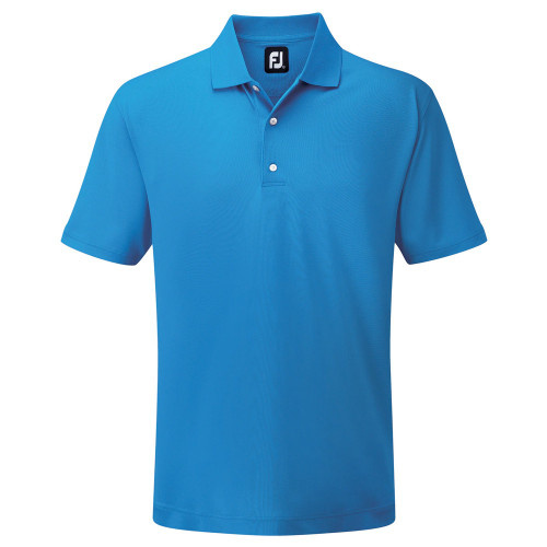 FootJoy Mens Stretch Pique Solid Knit Collar Golf Polo Shirt (Cobalt)