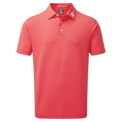 FootJoy Mens Smooth Pique Golf Polo Shirt with Collar Logo (Geranium)