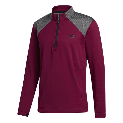 adidas Golf Mens COLD.RDY Quarter Zip Pullover (Power Berry)