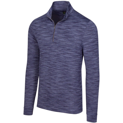 Greg Norman Heathered Mesh Stretch 1/4 Zip Mock Mens Pullover  - Navy Heather