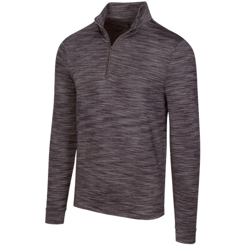 Greg Norman Heathered Mesh Stretch 1/4 Zip Mock Mens Pullover (Black Heather)