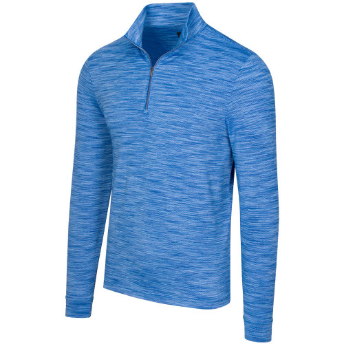 Greg Norman Heathered Mesh Stretch 1/4 Zip Mock Mens Pullover (Maritime Heather)