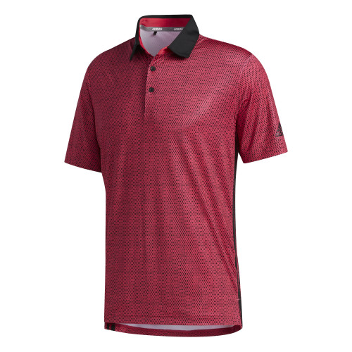adidas Golf Mens Ultimate365 Polo Shirt  - Power Pink / Black