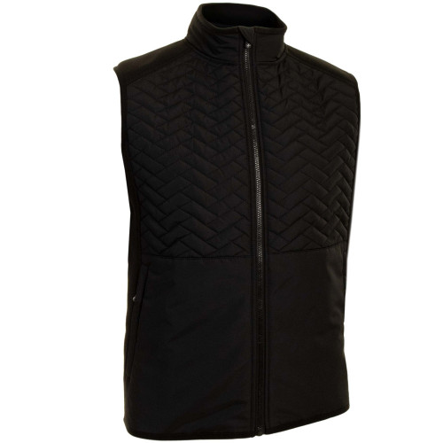 ProQuip Mens Gust Therma Quilted Full Zip Golf Gilet (Black)