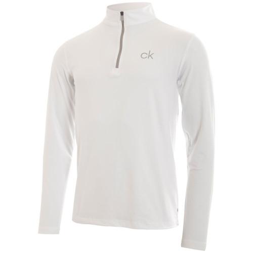 Calvin Klein Mens Newport Half Zip Golf Pullover (White)