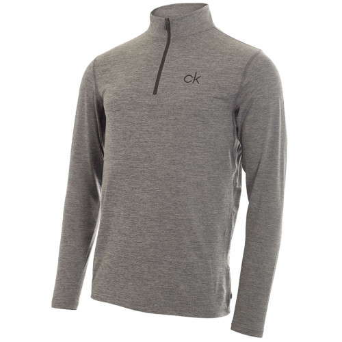 Calvin Klein Mens Newport Half Zip Golf Pullover (Silver)