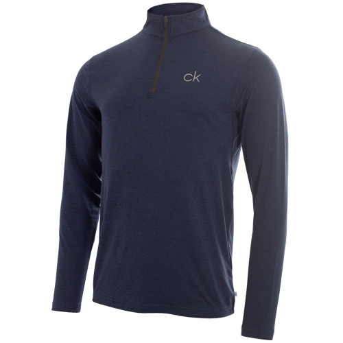 Calvin Klein Mens Newport Half Zip Golf Pullover (Navy Marl)