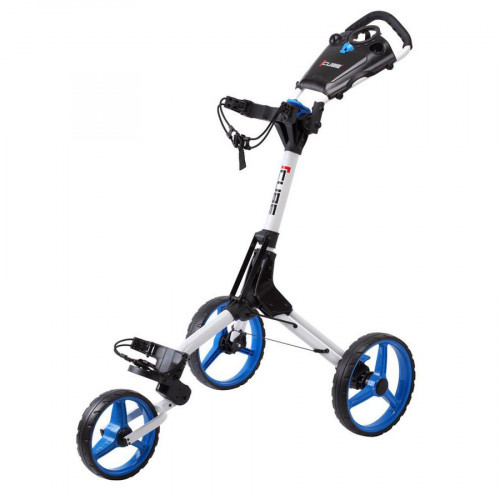 CUBE 3 WHEEL COMPACT PUSH PULL GOLF TROLLEY CART - FREE UMBRELLA HOLDER & TRAVEL COVER
