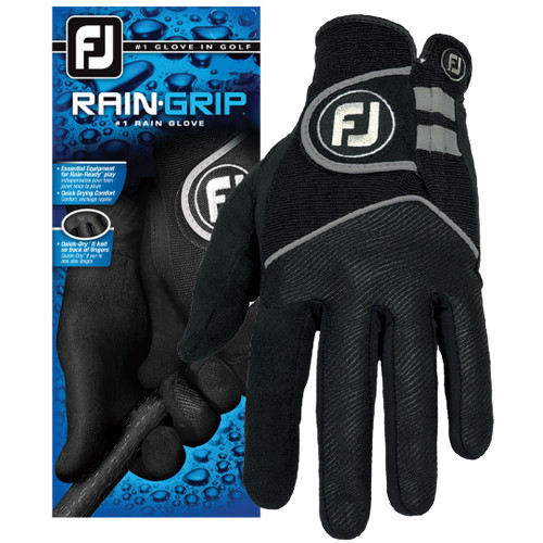 FootJoy Mens Rain Grip Golf Glove Non Slip Wet Weather - Black