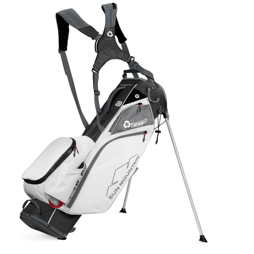 Sun Mountain Eco-lite Stand Golf Bag - made with recycled plastic (Black/White/Gunmetal/Bright Red)