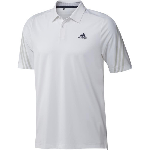 adidas Golf HEAT.RDY 3-Stripe Polo Shirt (White)