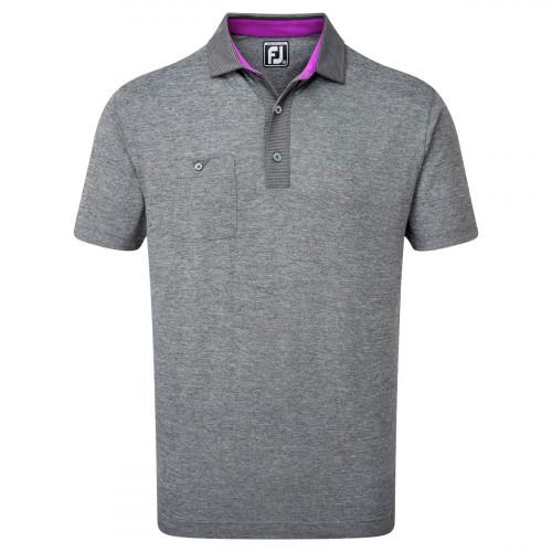 FootJoy Heather Pique Pinstripe Trim Mens Golf Polo Shirt