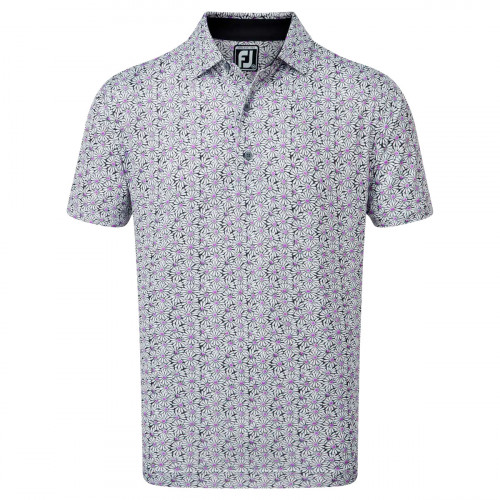 FootJoy Lisle Daisy Print Mens Golf Polo Shirt