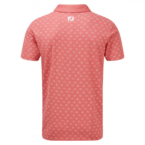 FootJoy Smooth Pique Weather Print Mens Golf Polo Shirt reverse