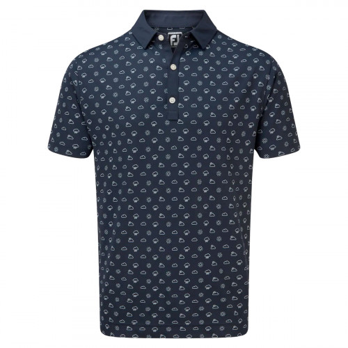 FootJoy Smooth Pique Weather Print Mens Golf Polo Shirt