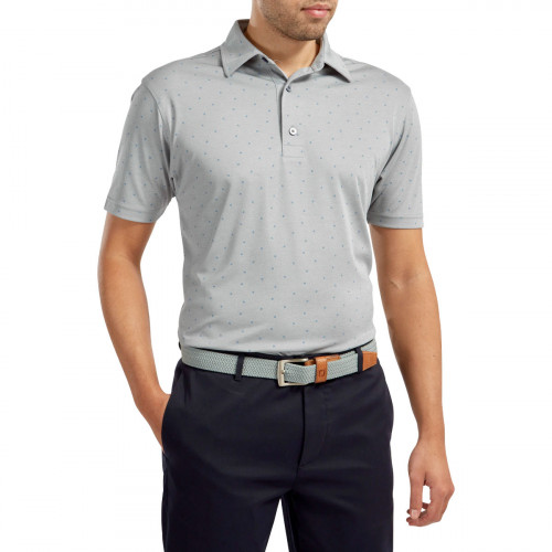 FootJoy Stretch Pique FJ Print Mens Golf Polo Shirt reverse