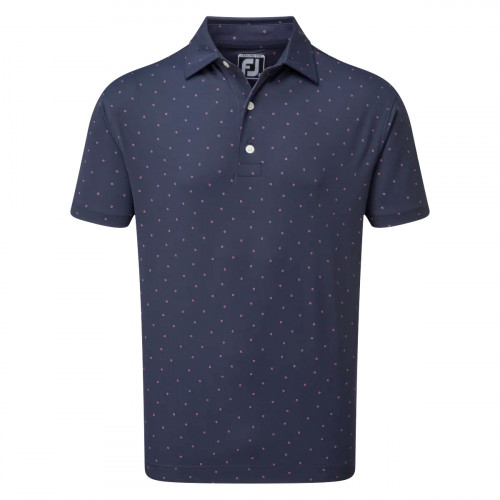 FootJoy Stretch Pique FJ Print Mens Golf Polo Shirt