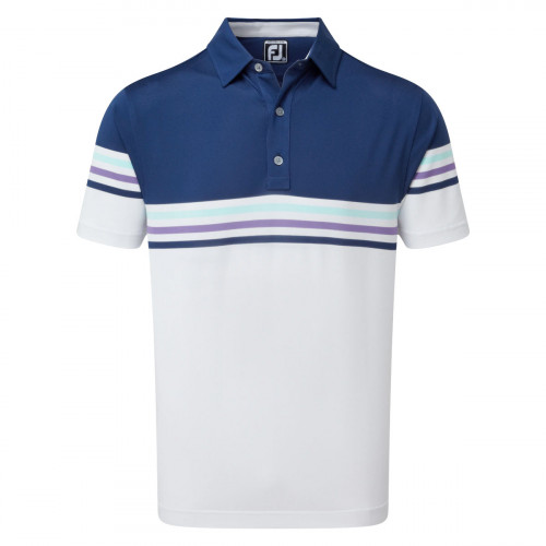 FootJoy Stretch Pique Colour Block Mens Golf Polo Shirt (Blue/White)