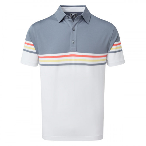 FootJoy Stretch Pique Colour Block Mens Golf Polo Shirt  - Slate/White