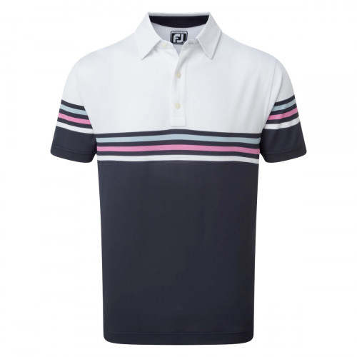 FootJoy Stretch Pique Colour Block Mens Golf Polo Shirt (White/Navy)