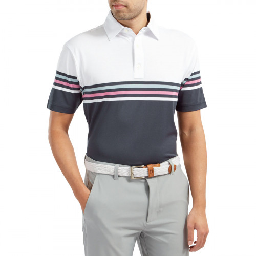FootJoy Stretch Pique Colour Block Mens Golf Polo Shirt reverse