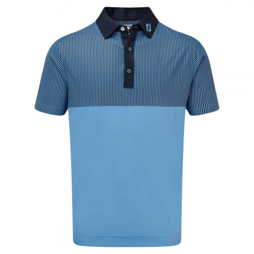 FootJoy Smooth Pique Engineered Vertical Print Mens Golf Polo Shirt