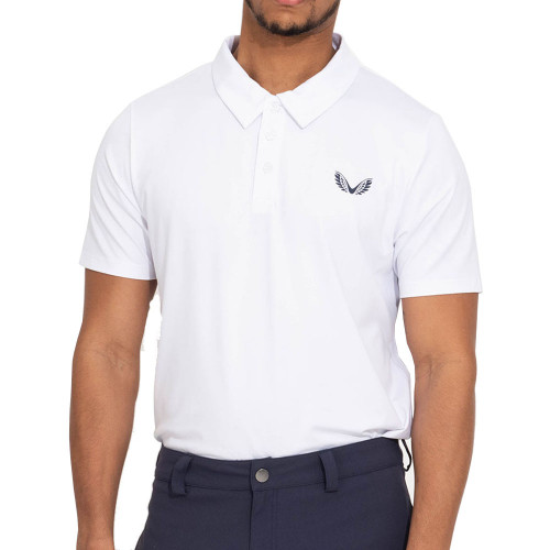 Castore Performance Air Pique Mens Golf Polo Shirt (White)