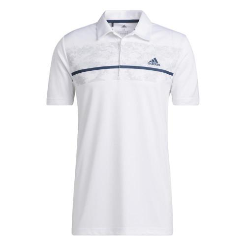 adidas Golf Chest Print Primegreen UV 50+ Polo Shirt