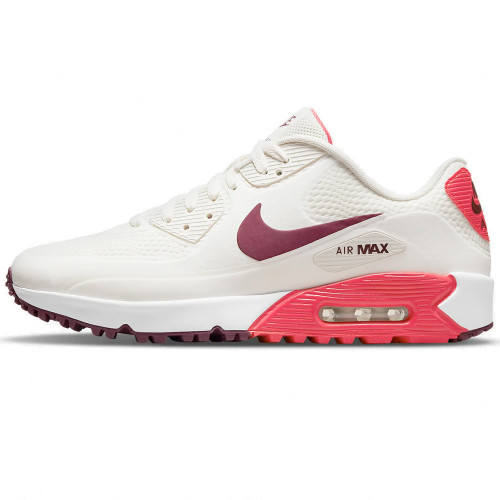Nike Air Max 90 G Spikeless Waterproof Golf Shoes (Sail/Dark Beetroot/Fusion Red)